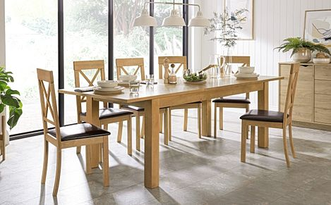 Hamilton 180-230cm Oak Extending Dining Table with 6 Kendal Chairs (Brown Leather Seat Pads)