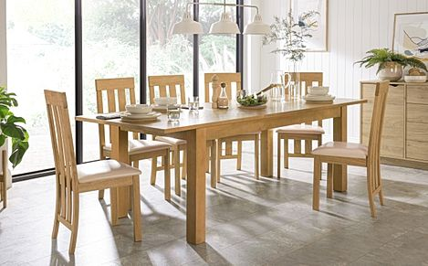 Hamilton 180-230cm Oak Extending Dining Table with 6 Chester Chairs (Ivory Leather Seat Pads)