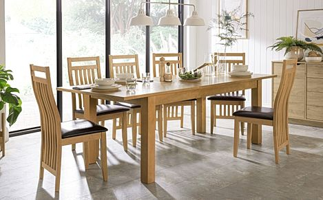 Hamilton 180-230cm Oak Extending Dining Table with 6 Bali Chairs (Brown Leather Seat Pads)