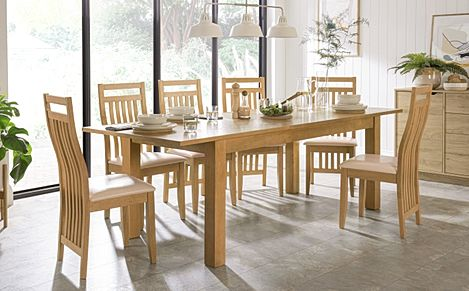 Hamilton 180-230cm Oak Extending Dining Table with 6 Bali Chairs (Ivory Leather Seat Pads)