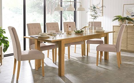 Hamilton 180-230cm Oak Extending Dining Table with 6 Regent Oatmeal Fabric Chairs