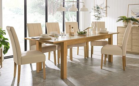 Hamilton 180-230cm Oak Extending Dining Table with 6 Carrick Ivory Leather Chairs