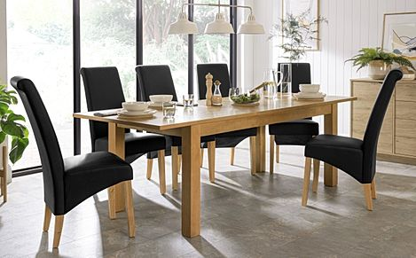 Hamilton Oak 180-230cm Extending Dining Table with 4 Richmond Black Leather Chairs
