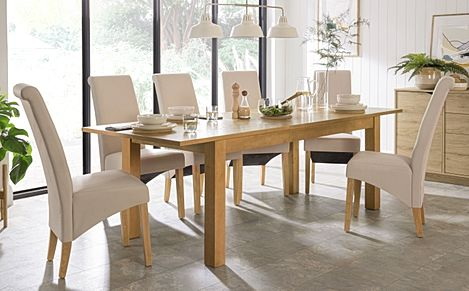 Hamilton 180-230cm Oak Extending Dining Table with 4 Richmond Cream Leather Chairs