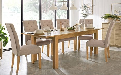 Hamilton Oak 180-230cm Extending Dining Table with 6 Hatfield Oatmeal Fabric Chairs