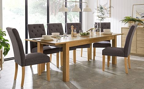 Hamilton Oak 180-230cm Extending Dining Table with 6 Hatfield Slate Fabric Chairs