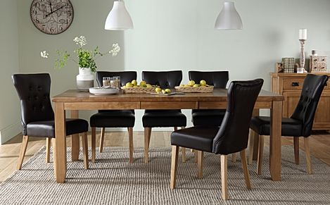 Highbury Oak Extending Dining Table with 6 Bewley Black Leather Chairs