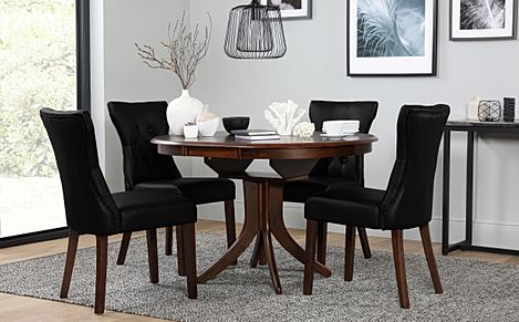 Hudson Round Dark Wood Extending Dining Table with 4 Bewley Black Leather Chairs