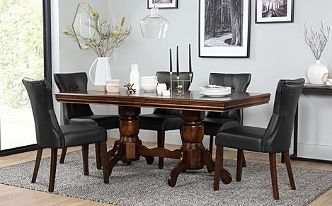 Chatsworth Dark Wood Extending Dining Table with 6 Bewley Black Leather Chairs