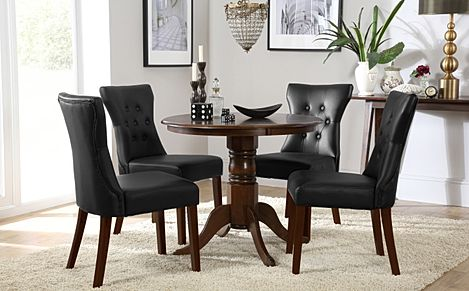 Kingston Round Dark Wood Dining Table with 4 Bewley Black Leather Chairs