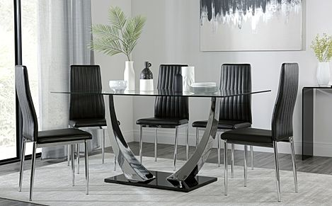 Peake Glass and Chrome Dining Table (Black Gloss Base) with 4 Leon Black Leather Chairs