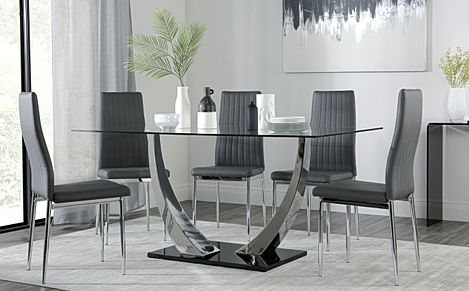 Peake Glass and Chrome Dining Table (Black Gloss Base) with 6 Leon Grey Leather Chairs