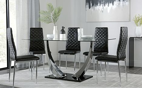 Peake Glass and Chrome Dining Table (Black Gloss Base) with 6 Renzo Black Leather Chairs