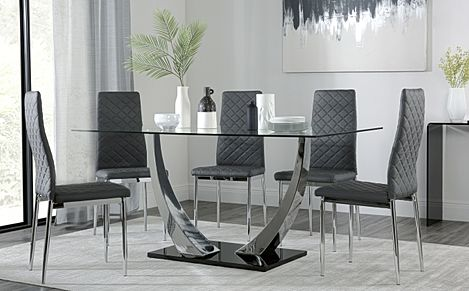 Peake Glass and Chrome Dining Table (Black Gloss Base) with 6 Renzo Grey Leather Chairs
