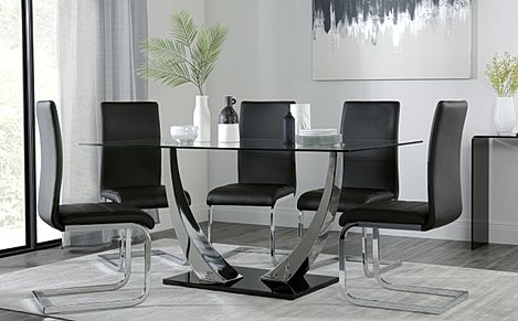 Peake Glass and Chrome Dining Table (Black Gloss Base) with 6 Perth Black Leather Chairs