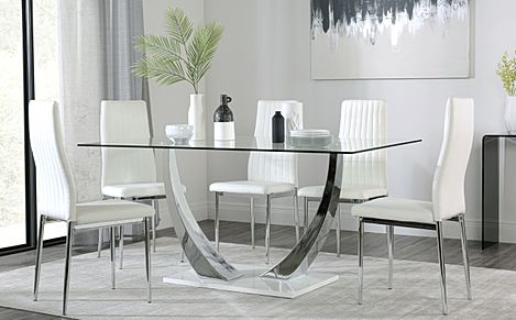 Peake Glass and Chrome Dining Table (White Gloss Base) with 6 Leon White Leather Chairs