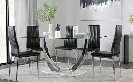 Peake Glass and Chrome Dining Table (White Gloss Base) with 6 Leon Black Leather Chairs