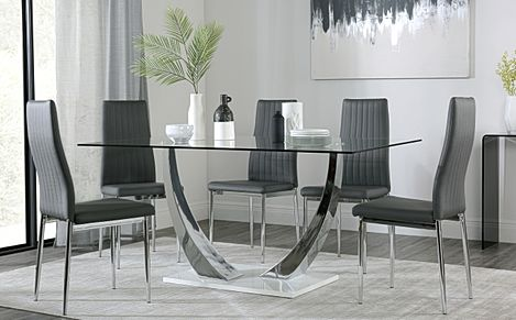 Peake Glass and Chrome Dining Table (White Gloss Base) with 6 Leon Grey Leather Chairs