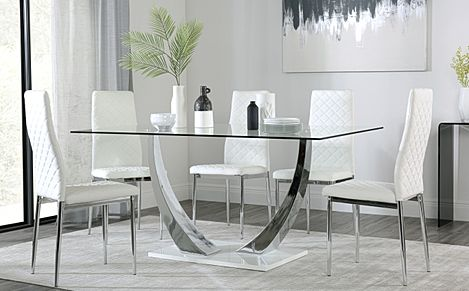 Peake Glass and Chrome Dining Table (White Gloss Base) with 4 Renzo White Leather Chairs