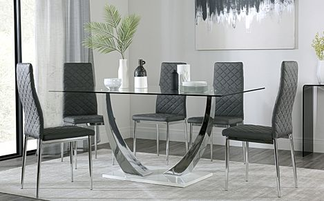 Peake Glass and Chrome Dining Table (White Gloss Base) with 6 Renzo Grey Leather Chairs