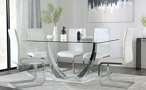 Peake Glass and Chrome Dining Table (White Gloss Base) with 4 Perth White Leather Chairs