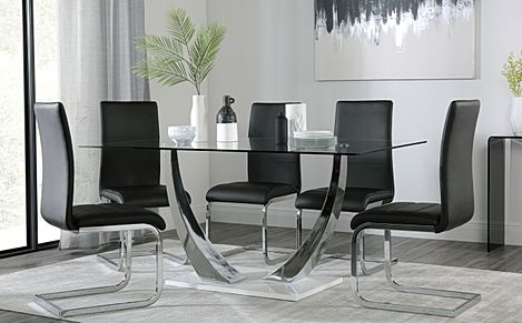 Peake Glass and Chrome Dining Table (White Gloss Base) with 4 Perth Black Leather Chairs