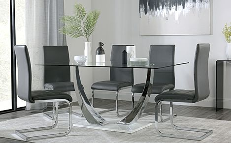 Peake Glass and Chrome Dining Table (White Gloss Base) with 4 Perth Grey Leather Chairs