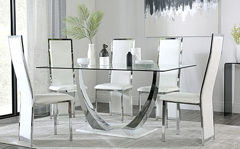 Peake Glass and Chrome Dining Table (White Gloss Base) with 4 Celeste White Chairs