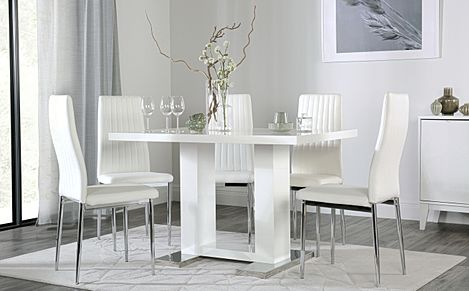 Joule White High Gloss Dining Table with 4 Leon White Leather Chairs