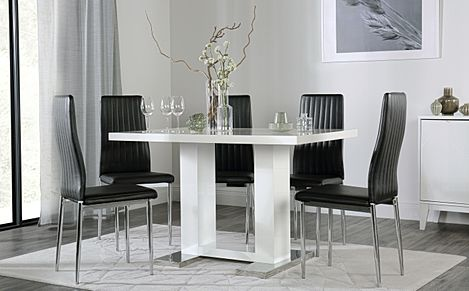 Joule White High Gloss Dining Table with 6 Leon Black Leather Chairs