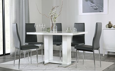 Joule White High Gloss Dining Table with 4 Leon Grey Leather Chairs