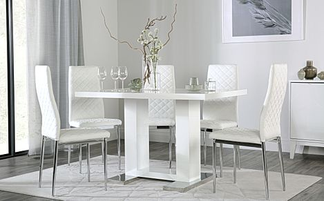 Joule White High Gloss Dining Table with 6 Renzo White Leather Chairs