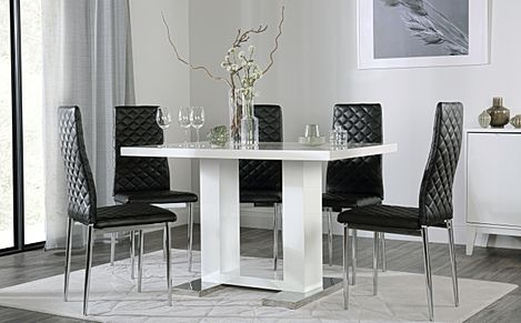 Joule White High Gloss Dining Table with 4 Renzo Black Chairs