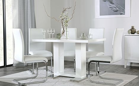 Joule White High Gloss Dining Table with 4 Perth White Leather Chairs