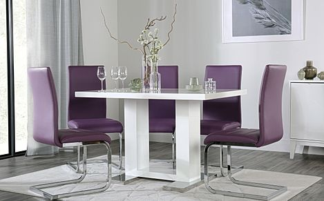 Joule White High Gloss Dining Table with 4 Perth Purple Chairs