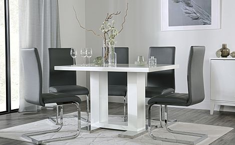 Joule White High Gloss Dining Table with 4 Perth Grey Leather Chairs