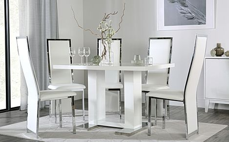 Joule White High Gloss Dining Table with 4 Celeste White Chairs
