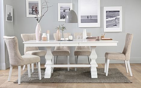 Cavendish White Extending Dining Table with 6 Bewley Oatmeal Fabric Chairs