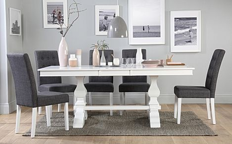 Cavendish White Extending Dining Table with 8 Regent Slate Fabric Chairs