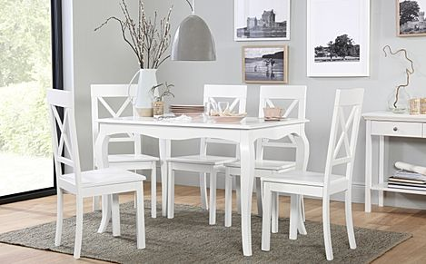 Clarendon White Dining Table with 6 Kendal Chairs