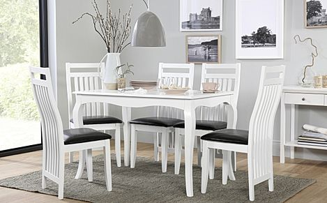 Clarendon White Dining Table with 6 Java Chairs (Black Leather Seat Pads)