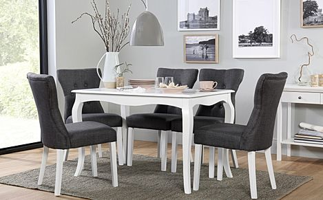 Clarendon White Dining Table with 6 Bewley Slate Fabric Chairs
