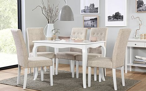 Clarendon White Dining Table with 6 Regent Oatmeal Fabric Chairs