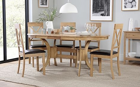 Townhouse Oval Oak Extending Dining Table with 6 Kendal Chairs (Brown Leather Seat Pads)