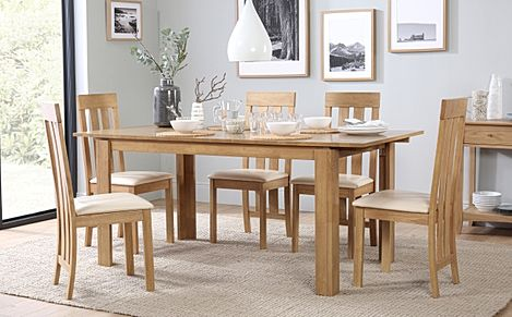Bali Oak Extending Dining Table with 6 Chester Chairs (Ivory Leather Seat Pads)