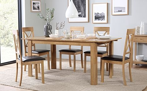 Bali Oak Extending Dining Table with 6 Kendal Chairs (Brown Leather Seat Pads)