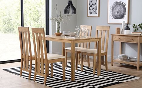 Milton Oak Dining Table with 4 Chester Chairs (Ivory Leather Seat Pads)