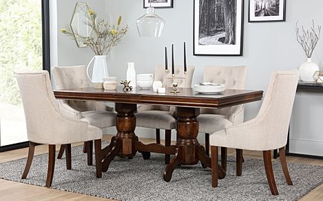 Chatsworth Dark Wood Extending Dining Table with 6 Duke Oatmeal Fabric Chairs