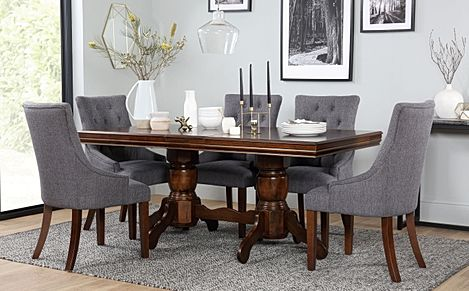 Chatsworth Dark Wood Extending Dining Table with 6 Duke Slate Fabric Chairs