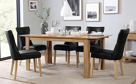 Bali Oak Extending Dining Table with 6 Bewley Black Leather Chairs
